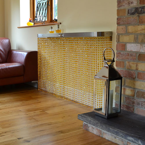 amber glass crystal radiator cover and console table