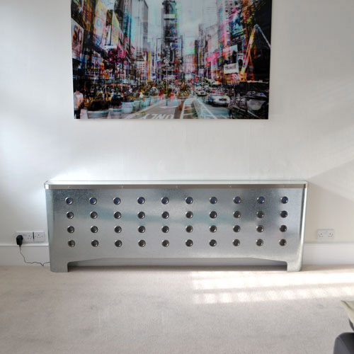 Galvanised radiator cover in Maida Vale living room