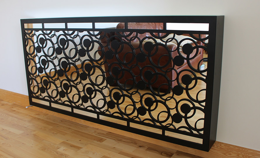 Mirror radiator cover complex circles design black