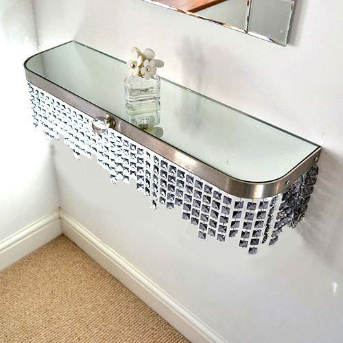 Grey Crystal shelving short fringe Radiator Cover