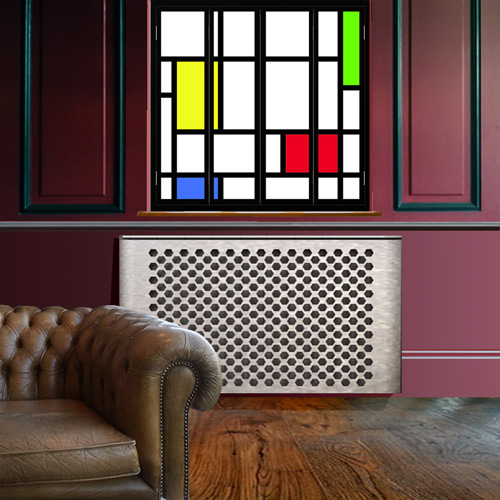 mondrian-window-shutters-in-black-frame-with-lights-and-galvanised-radiator-cover