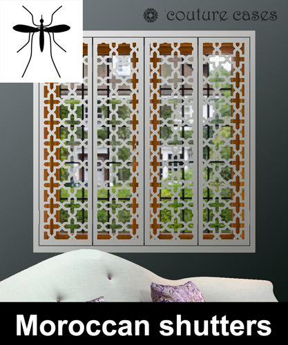 Decorative security shutters with mosquito screens ... Mosquito Laser