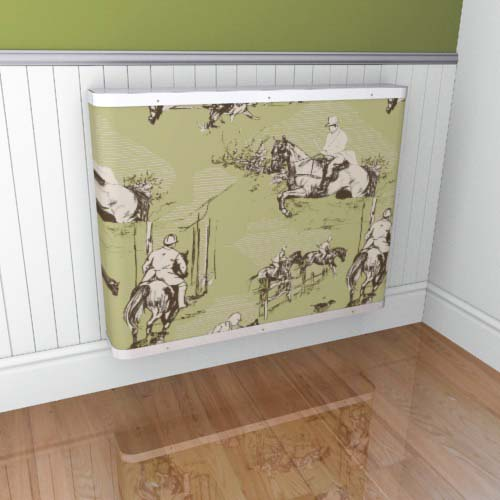 Toile Horses Grey Green 1 Radiator Cover